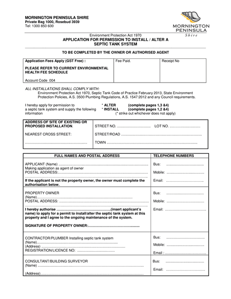 Septic Tank Application Form